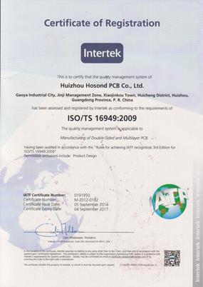 Shenzhen Grande Electronic ISO TS16949:2009 Certificates